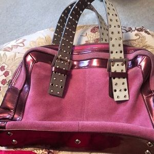 fetish Accessories - Fetish Pink suede and leather handbag 👛👜